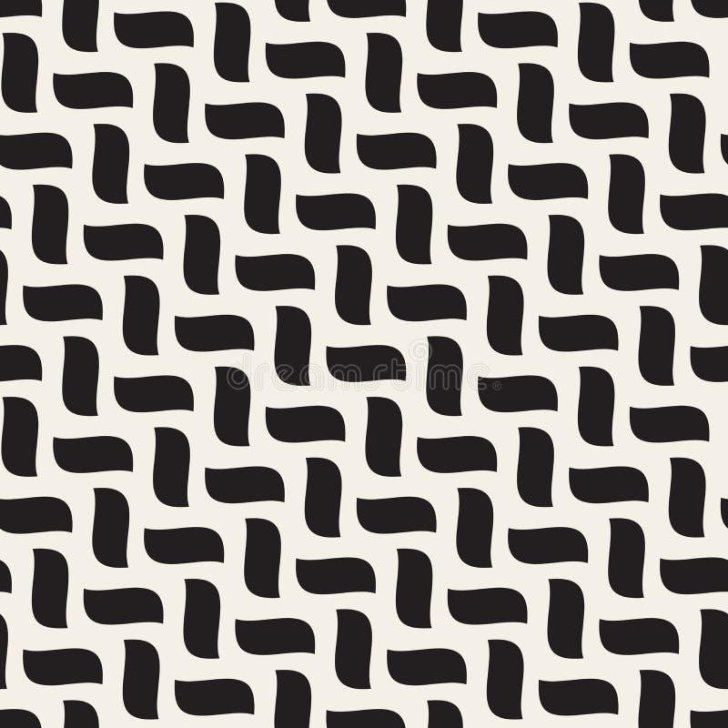La treccia ondulata diagonale disegnata a mano in bianco e nero senza cuciture di vettore modella il modello illustrazione di stock