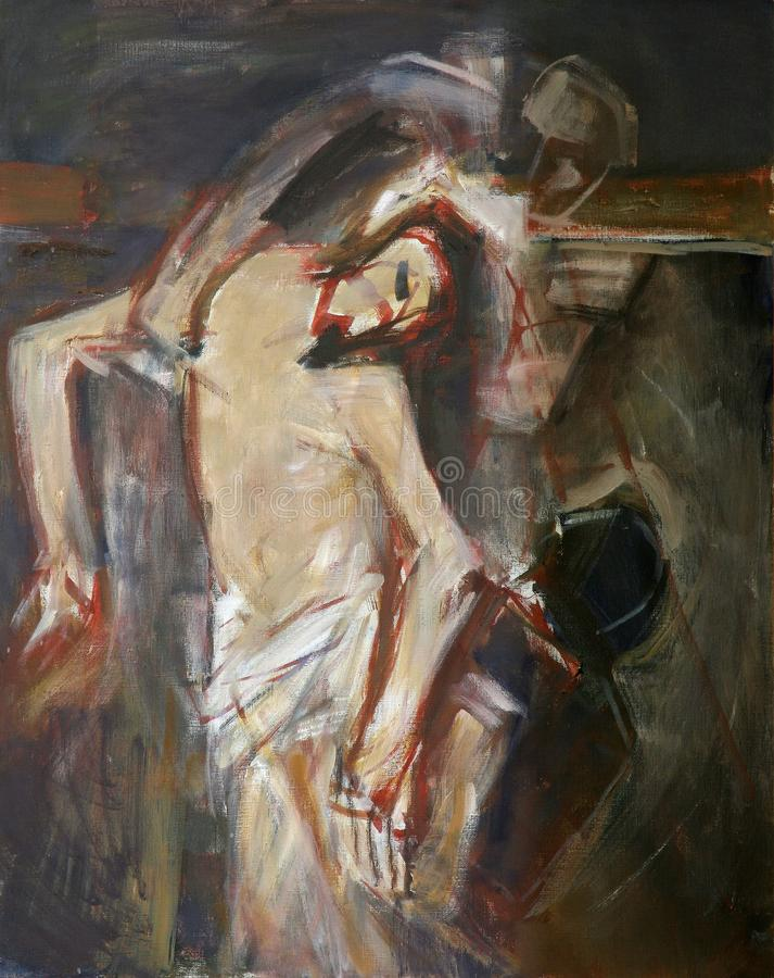la tredicesima via Crucis, corpo del ` di Gesù è rimossa dall'incrocio royalty illustrazione gratis