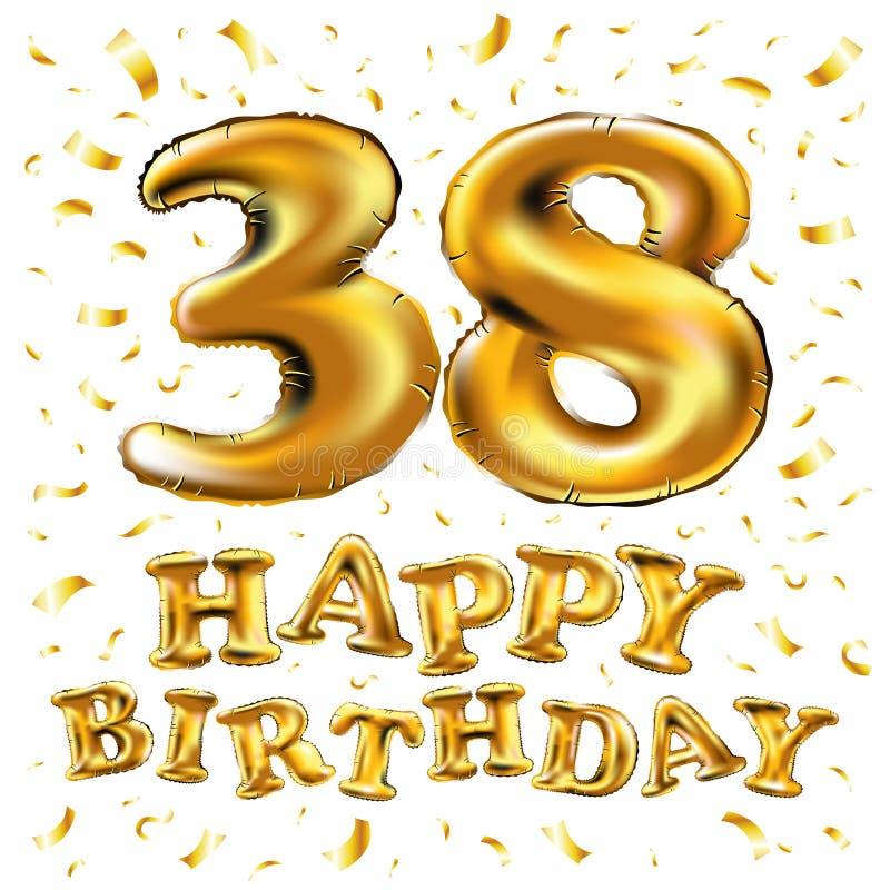 la trentottesima celebrazione di compleanno con i palloni dell'oro ed i coriandoli variopinti brilla progettazione per la vostra  illustrazione vettoriale