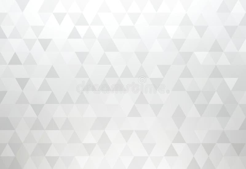 La triangle blanche forme le modèle Abrégé sur simple géométrique fond de miroitement argenté léger illustration libre de droits
