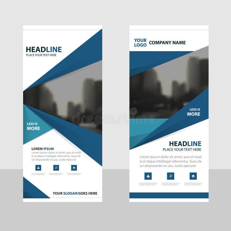La triangle bleue enroulent la conception de bannière d'insecte de brochure d'affaires, fond géométrique d'abrégé sur présentatio illustration stock