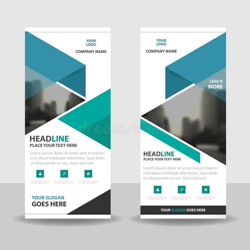 La triangle de vert bleu enroulent la conception de bannière d'insecte de brochure d'affaires, fond géométrique d'abrégé sur prés illustration stock