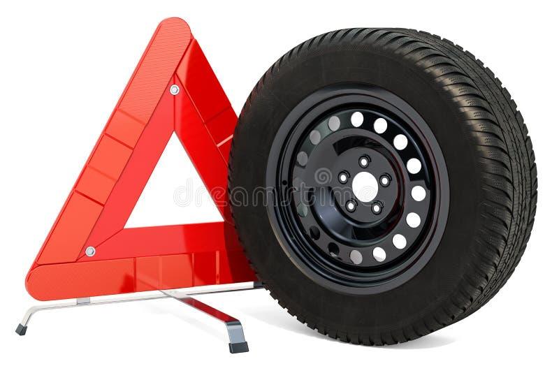La triangle et la roue de voiture d'avertissement avec l'hiver fatiguent rendu 3d illustration libre de droits