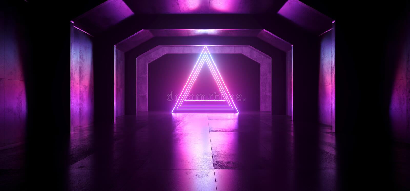 La triangle rougeoyante bleue de futur pourpre au néon de Sci fi forment le tunnel foncé vide de vaisseau spatial les lasers vibr illustration libre de droits