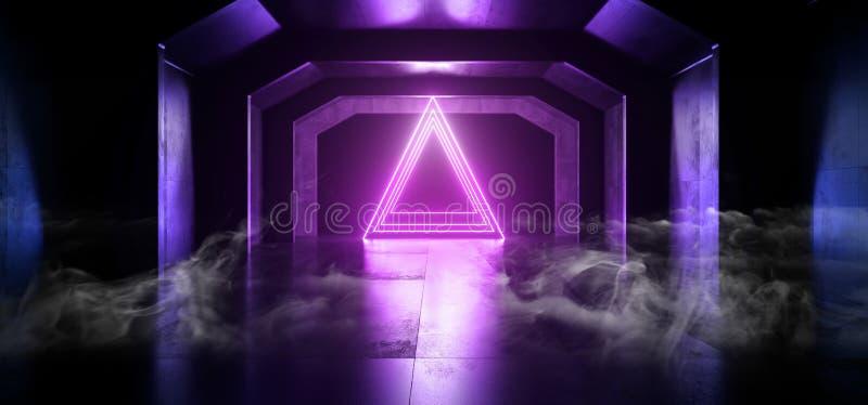 La triangle rougeoyante bleue de futur pourpre au néon de Sci fi de fumée forment le tunnel foncé vide de vaisseau spatial les la illustration de vecteur