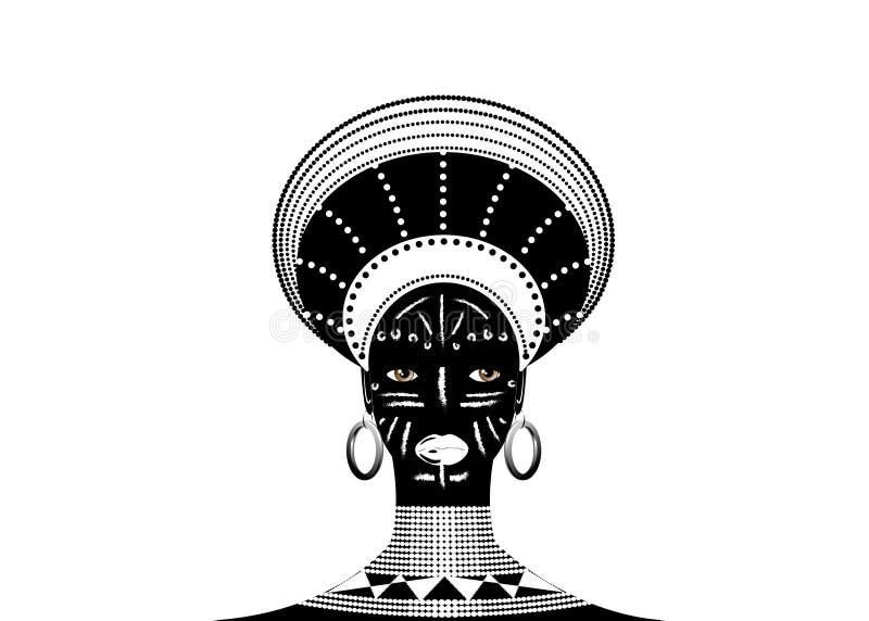 La tribù africana copre zulù femminile, ritratto della donna sudafricana sveglia Abbigliamento tipico per le donne sposate, ragaz royalty illustrazione gratis