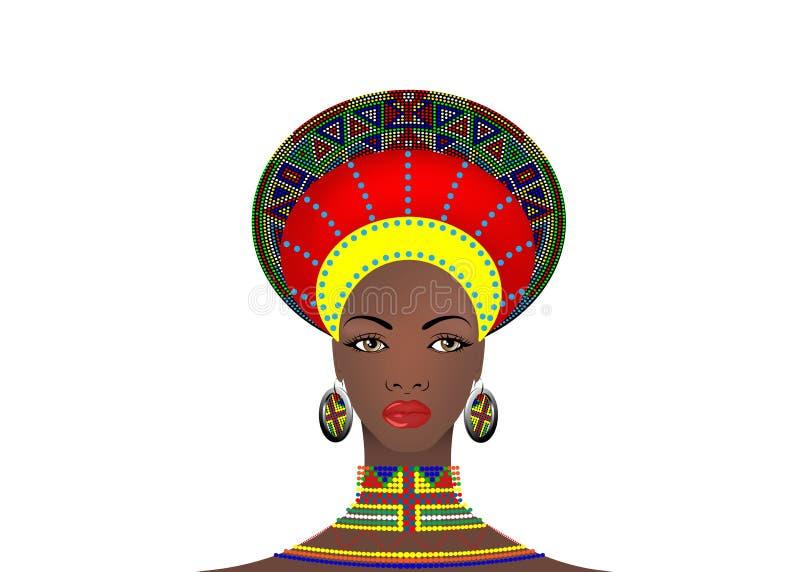 La tribù africana copre zulù femminile, ritratto della donna sudafricana sveglia Abbigliamento tipico per le donne sposate, ragaz illustrazione di stock