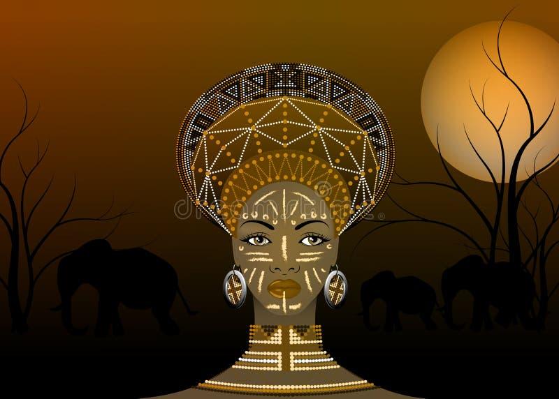 La tribu africaine vêtx le zoulou femelle, portrait de femme sud-africaine mignonne Habillement typique pour les femmes mariées,  illustration stock