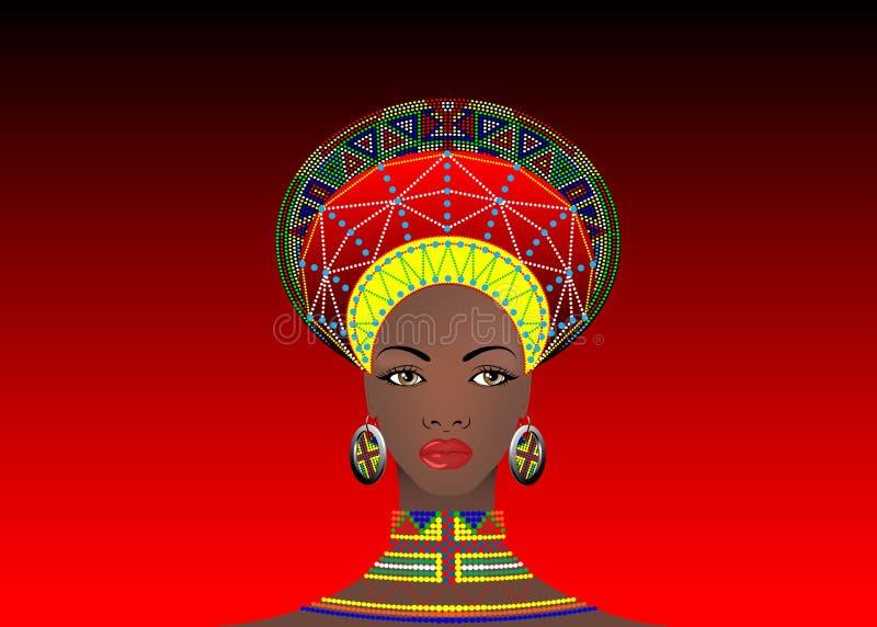 La tribu africaine vêtx le zoulou femelle, portrait de femme sud-africaine mignonne Habillement typique pour les femmes mariées,  illustration de vecteur