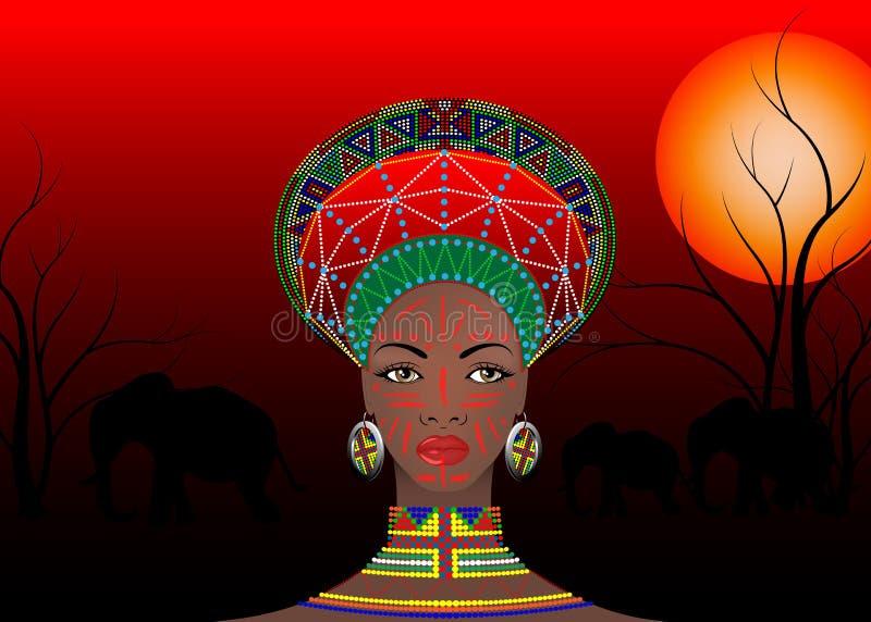 La tribu africaine vêtx le zoulou femelle, portrait de femme sud-africaine mignonne Habillement typique pour les femmes mariées,  illustration libre de droits