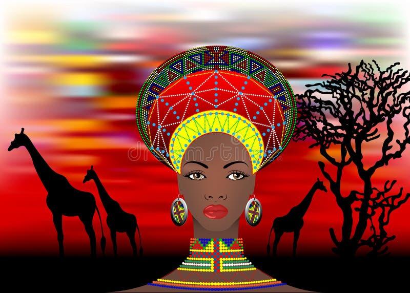La tribu africaine vêtx le zoulou femelle, portrait de femme sud-africaine mignonne de nation bantoue Coiffe typique d'Afro avec illustration stock