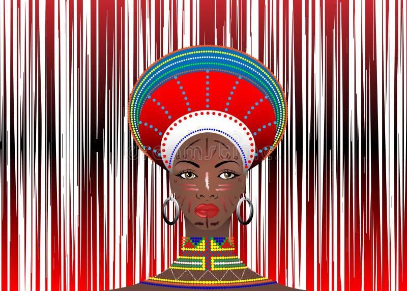 La tribu africana viste el retrato femenino de Zulu Aboriginal de la mujer surafricana linda de la nación bantú Tocado típico del libre illustration