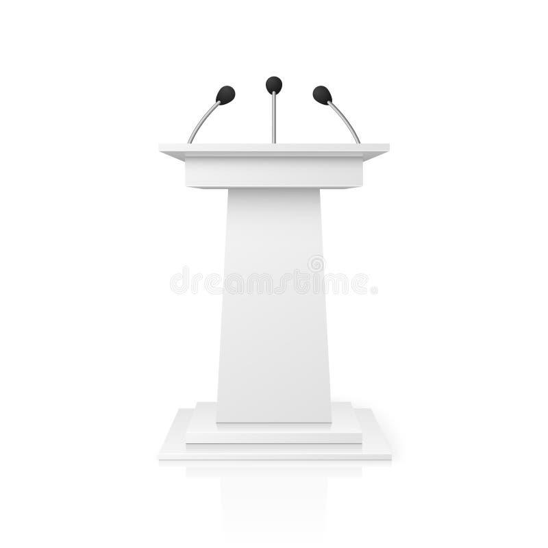 La tribuna vuota bianca del podio per discorso pubblico con i microfoni vector l'illustrazione illustrazione di stock