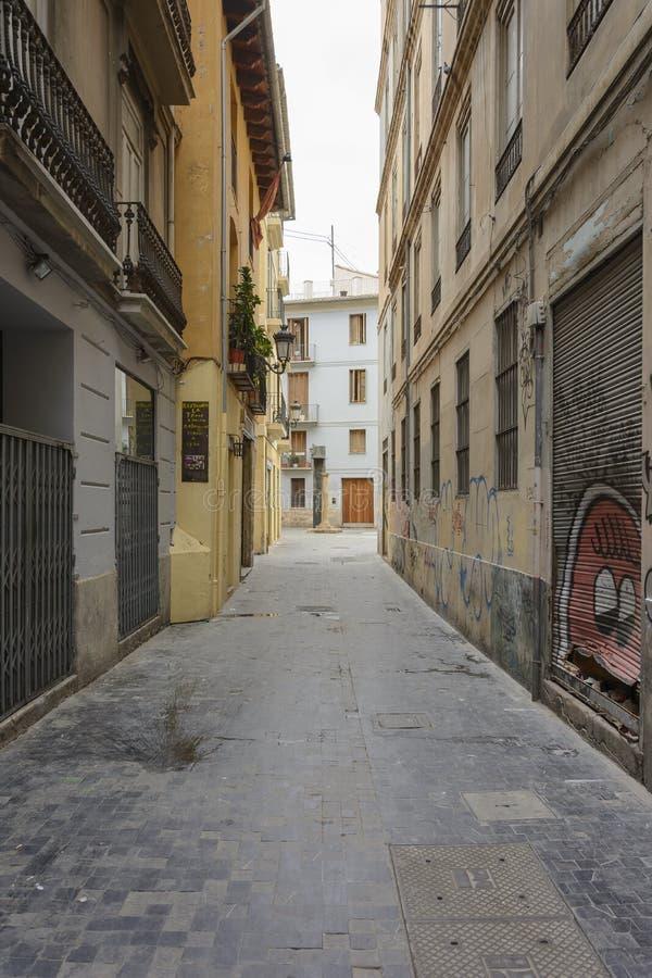 La tristesse de la rue vide dans la ville images libres de droits