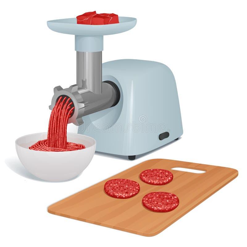 La tritacarne con un vassoio per carne e un tubo del metallo torce la carne per le cotolette, un piatto con ripieno pronto e un t illustrazione vettoriale