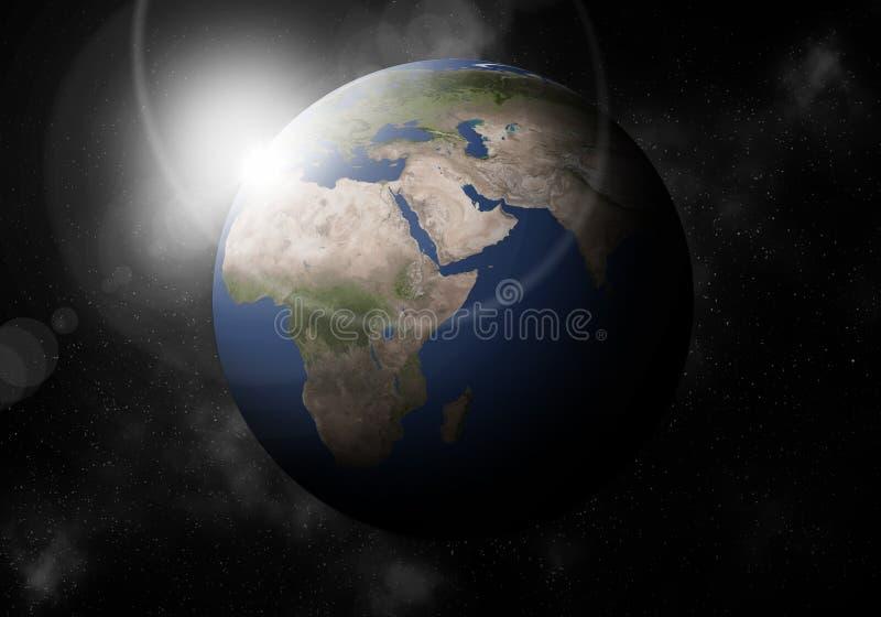 La troisième planète du Sun est la terre, planétarium de système solaire illustration stock