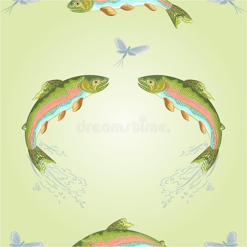 La trucha americana de la textura inconsútil salta vector stock de ilustración
