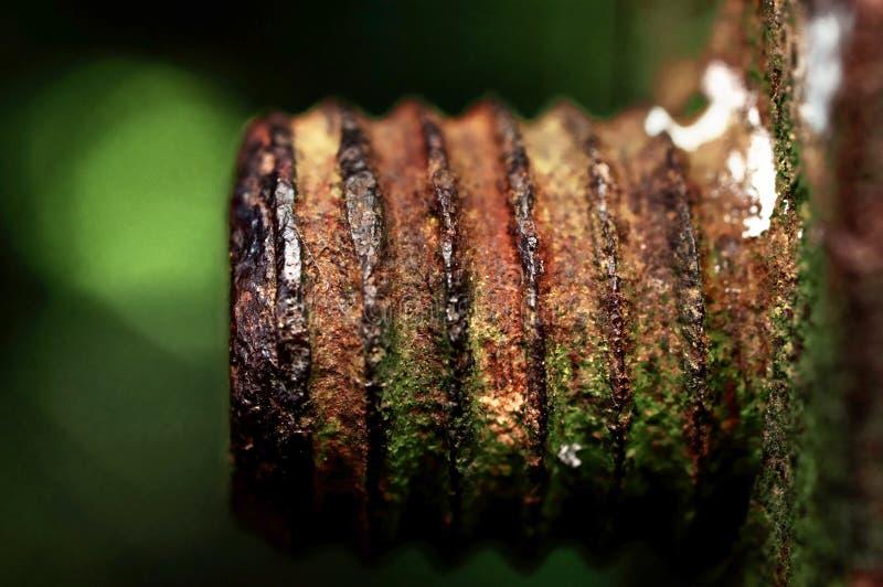 La tuerca vieja aherrumbrada del hierro que no se puede apagar fotografía de archivo libre de regalías