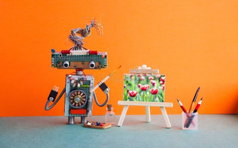 La tulipe en bois d'illustration de la vie de chevalet d'artiste de robot fleurit toujours Dessin d'arts visuels d'école de studi images stock