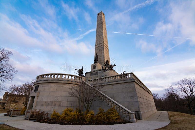La tumba de Lincoln en Springfield, Illinois imagen de archivo