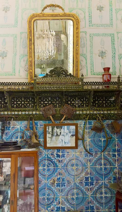 La Tunisia, Susa 19 settembre 2016 Museo Dar Essid Frammento dell'interno di una casa araba antica immagine stock