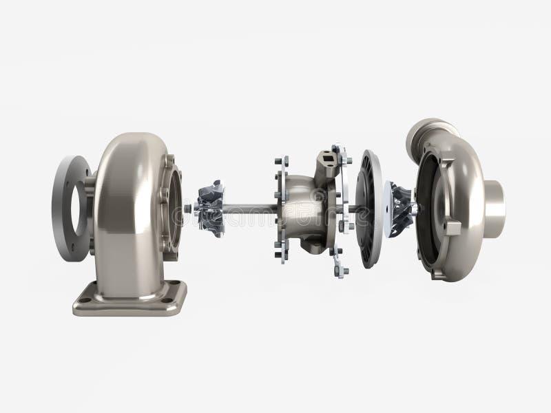 La turbina automobilistica 3d della sovralimentazione non rende su bianco ombra royalty illustrazione gratis