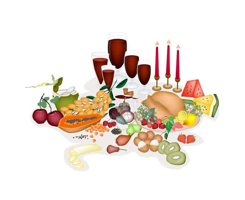 La Turchia ad una cena di Natale tradizionale. illustrazione vettoriale