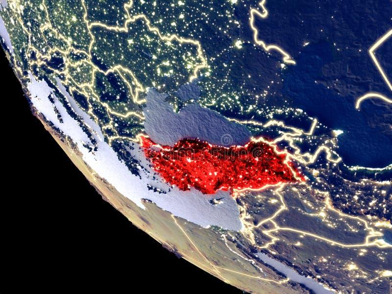 La Turchia da spazio su terra fotografia stock