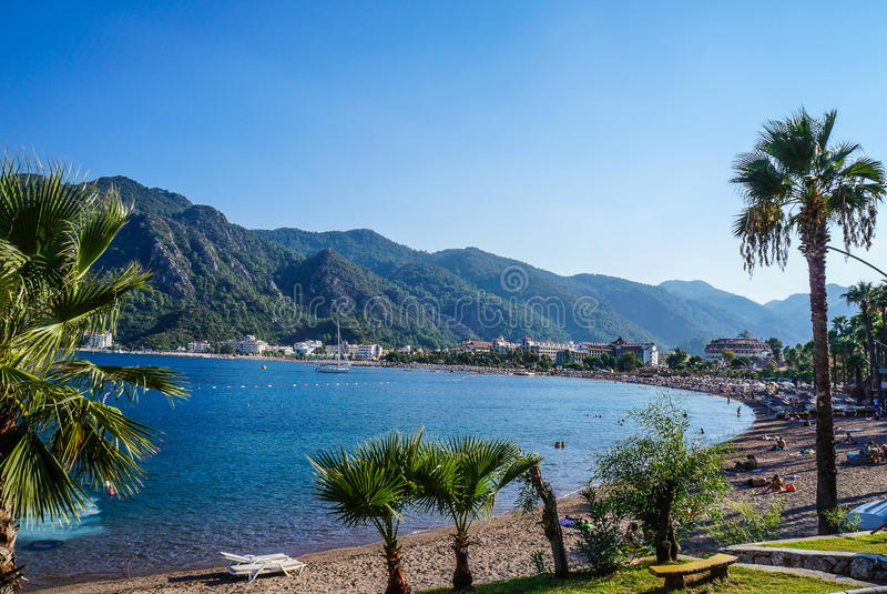 La Turchia Estate 2015 Spiaggia della città di Marmaris immagini stock libere da diritti