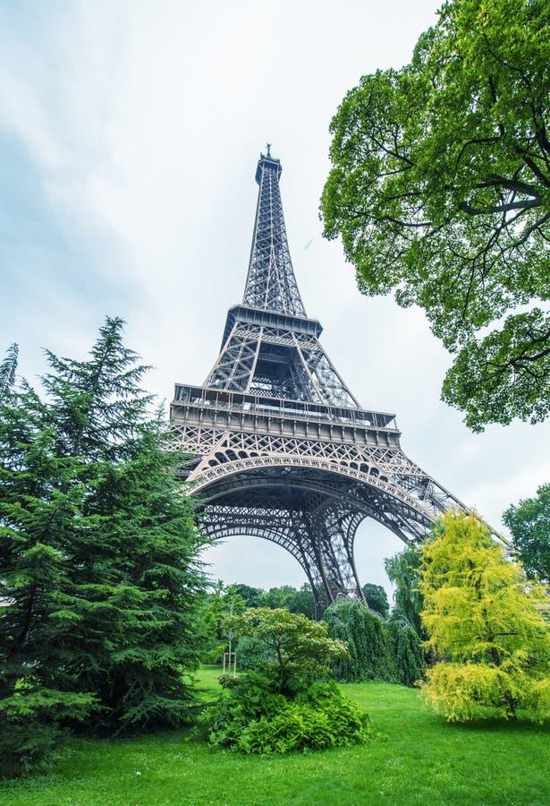 La turnerar Eiffel i Paris omgav vid träd i sommar royaltyfri fotografi