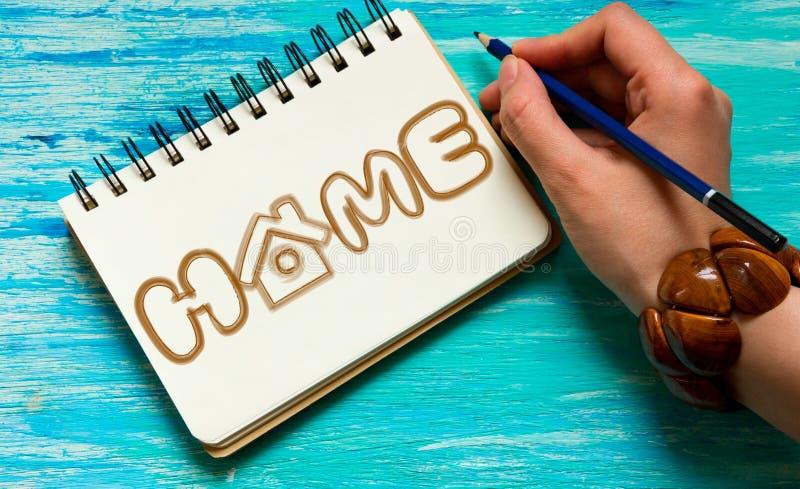 La turquesa del logotipo del hogar de la palabra fotografía de archivo libre de regalías