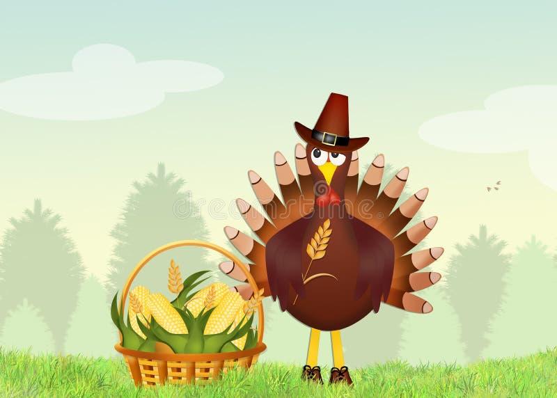 La Turquie avec des grains illustration de vecteur