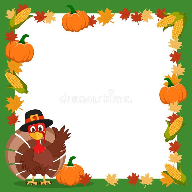La Turquie dans un chapeau ondulant son aile à côté du cadre des feuilles et du maïs d'automne thanksgiving illustration stock