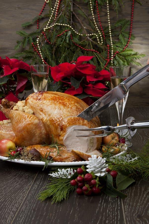 La Turquie de Noël rôtie aux pommes d'agneau image libre de droits