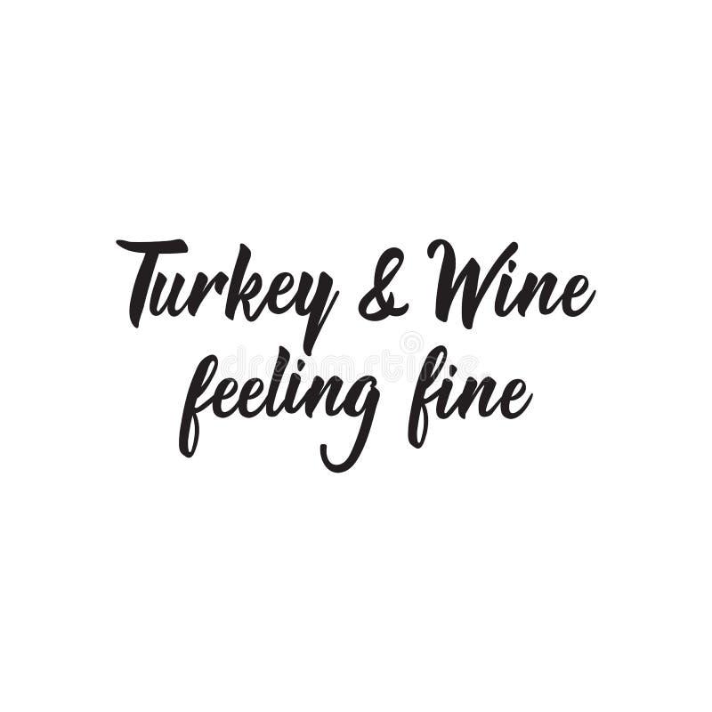 La Turquie et le vin se sentant fins lettrage Illustration de vecteur de calligraphie illustration libre de droits