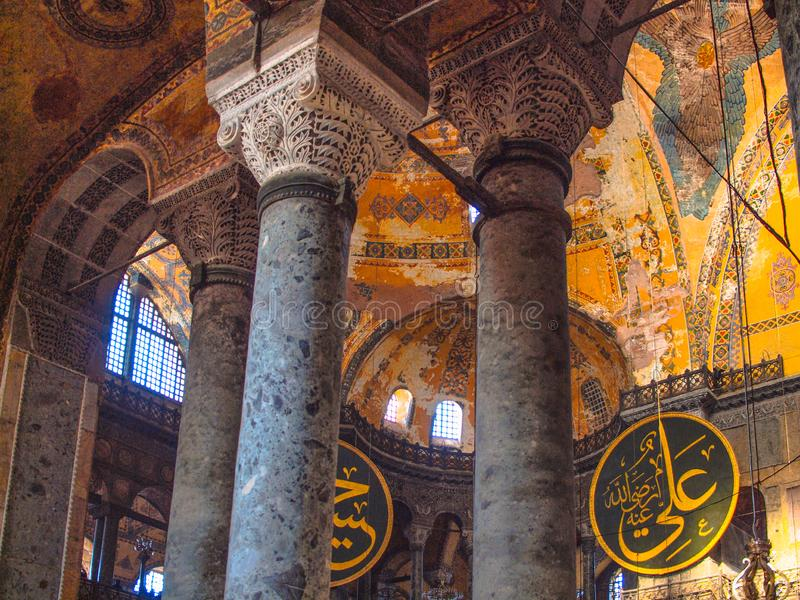La Turquie, Istanbul, Hagia Sophia, carreaux calligraphiques, plafond frescoed photo libre de droits