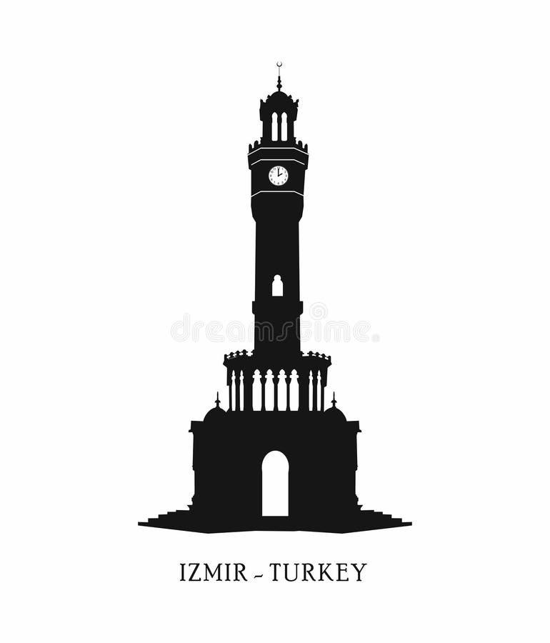 La Turquie, Izmir, konak Tour d'horloge, point de repère Turquie de ville d'Izmir, icône de voyage, illustration de vecteur