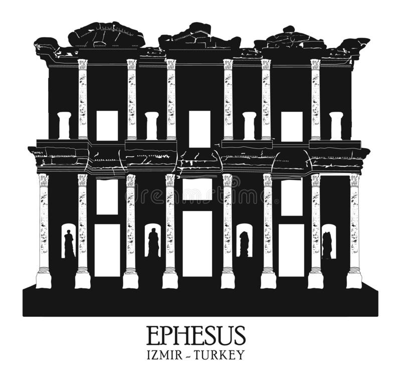 La Turquie, Izmir, Selcuk Biblioth?que de Celsus dans la ville antique d'Ephesus, Turquie Ephesus est un site de patrimoine mondi illustration stock