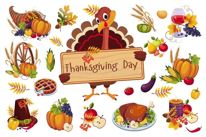 La Turquie pour le jour de thanksgiving tenant l'enseigne en bois, symboles traditionnels d'illustration de vecteur de vacances d illustration libre de droits