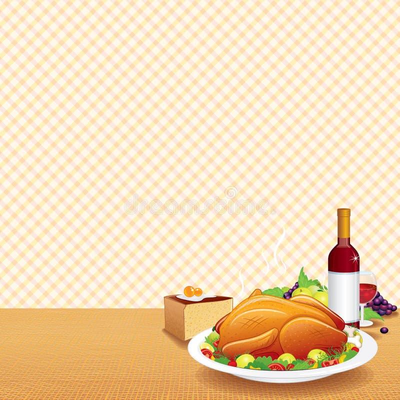 La Turquie rôtie sur le Tableau décoré illustration de vecteur