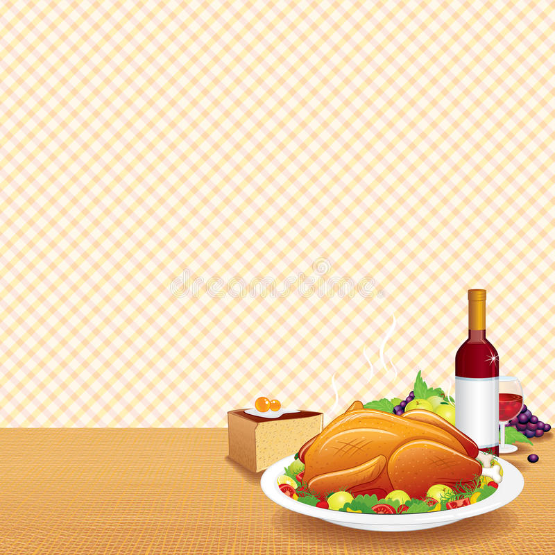 La Turquie rôtie sur le Tableau décoré illustration libre de droits