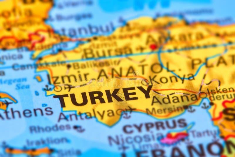 La Turquie sur la carte photographie stock libre de droits