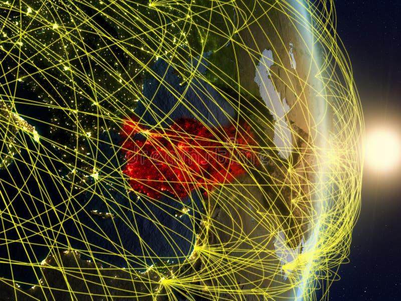 La Turquie sur la terre reliée au réseau de planète photo libre de droits