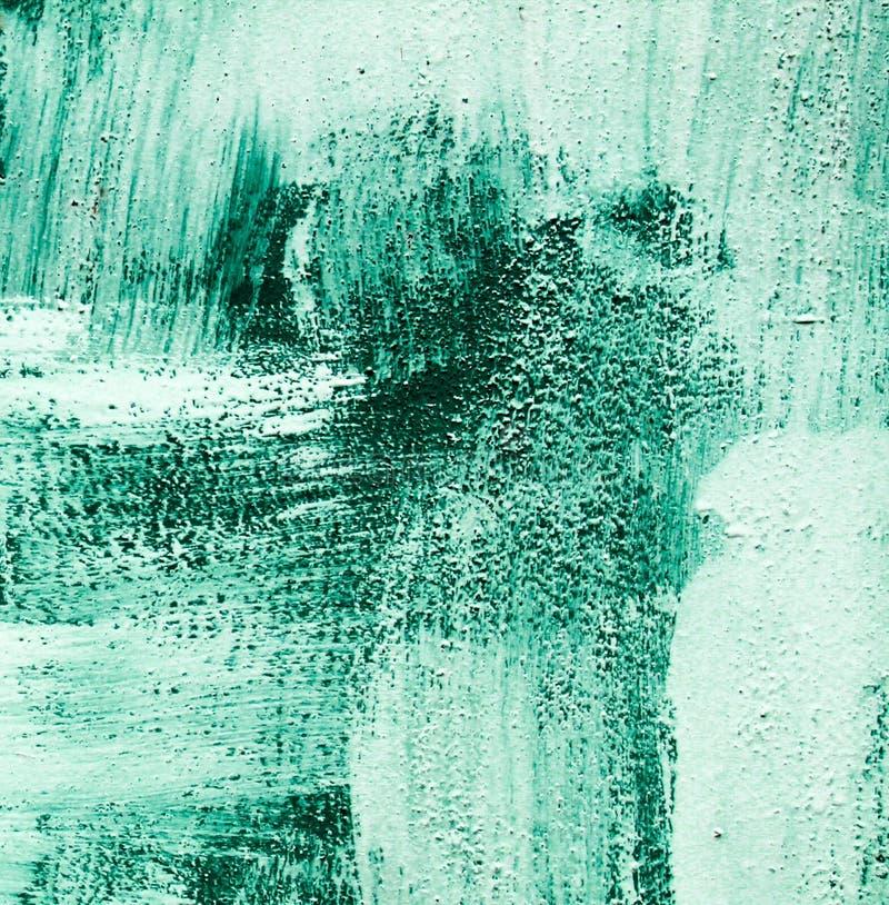 La turquoise verte bleu vert et le blanc ont balayé le style chaotique de courses de brosse d'abrégé sur texture de fond de peint images stock
