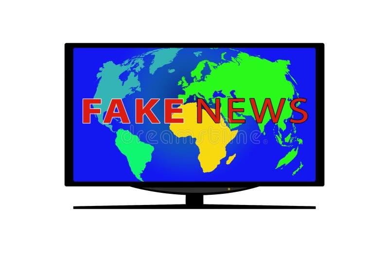 La TV avec une photo de la carte du monde et l'inscription TRUQUENT DES ACTUALITÉS illustration stock