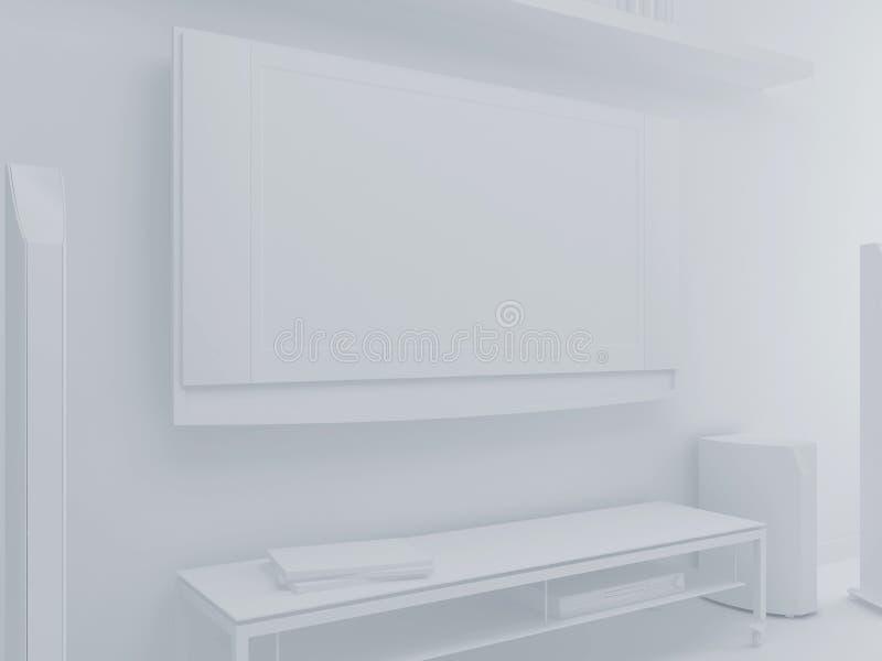 La TV blanca en un cuarto libre illustration