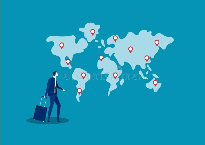 La ubicación del viaje y de la búsqueda del hombre de negocios para invierte al ilustrador del vector del negocio en el extranjer stock de ilustración