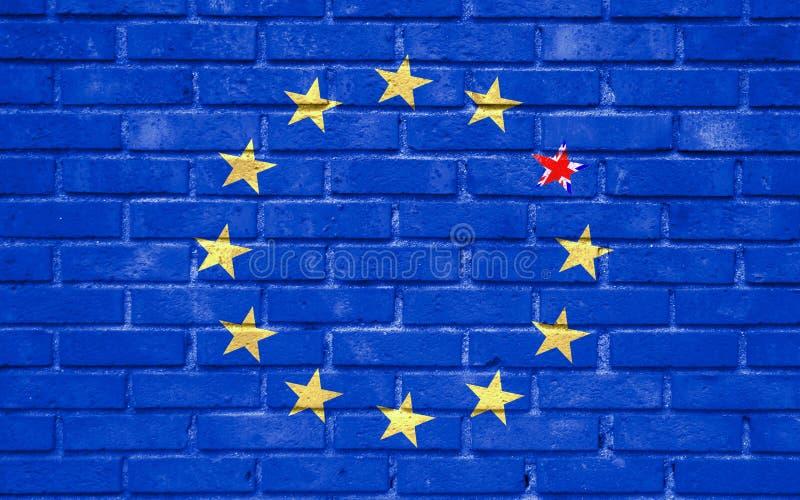 La UE azul de la unión europea de Brexit señala por medio de una bandera en la pared de ladrillo y una estrella con la bandera de libre illustration