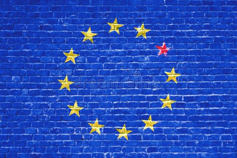 La UE azul de la unión europea de Brexit señala por medio de una bandera en la pared de ladrillo y una estrella con la bandera de ilustración del vector