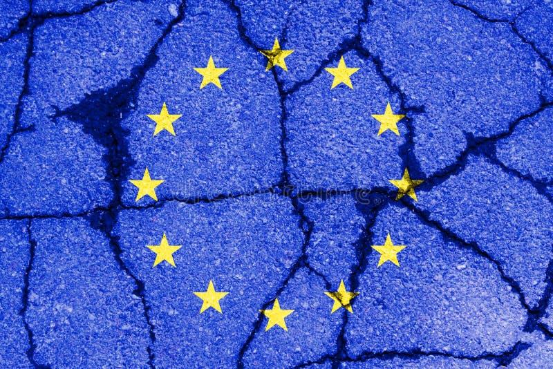 la UE azul de la unión europea del brexit señala por medio de una bandera fotos de archivo libres de regalías